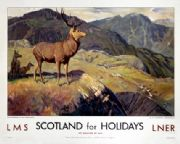 Scotland For Holidays,Deer Stalking in the Highlands, Scottish Railway Travel Art Poster Print, LMS